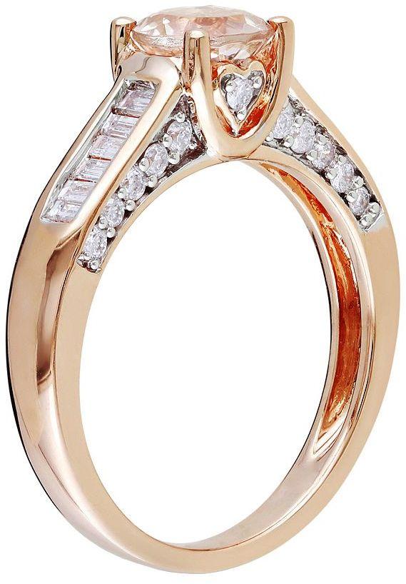 14k Rose Gold 1/2-ct. T.W. Diamond & Morganite Wedding Ring