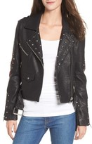 Vigoss Women's Studded & Embroidered Faux Leather Moto Jacket