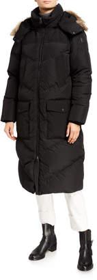 Woolrich Logo Long Parka w/ Fur-Trim Hood