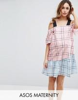Asos Check Mix And Match Cold Shoulder Cotton Dress