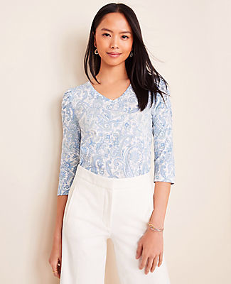 Ann Taylor Petite Paisley Cinched Sleeve Tee