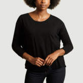 American Vintage Black Cotton Boat Neck Long Sleeves Low Armholes Sonoma T-Shirt - cotton | black | small - Black/Black