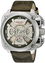 Diesel Men's 'BAMF' Quartz Stainless Steel and Leather Casual Watch, Color:Green (Model: DZ7367)