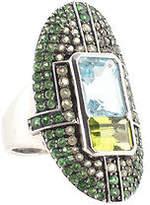 Rarities Blue Topaz Sterling Silver Peridot Tsavorite Pave Ring Size 7 New $900