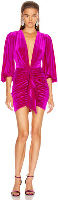 Alexandre Vauthier for FWRD Plunging Puff Sleeve Velvet Mini Dress in Fuchsia | FWRD