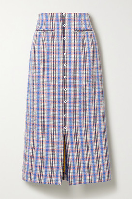 Rosie Assoulin Checked Cotton-blend Jacquard Midi Skirt - Blue