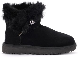 UGG Classic Fluff Pin Mini Black Ankle Boot In Suede With Brooch