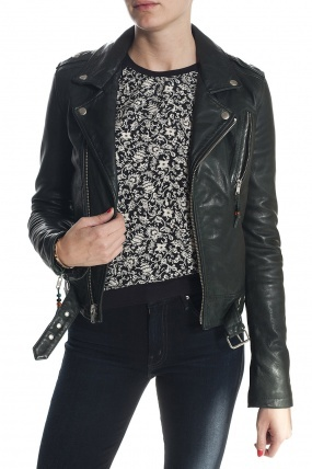 BLK DNM Cropped Leather Jacket Pine