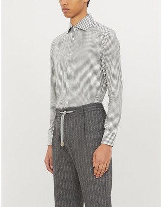 Corneliani Checked tailored-fit cotton-twill shirt
