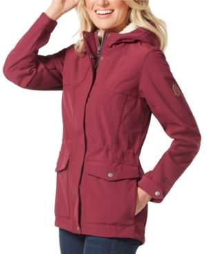Free Country Super Soft Shell Adjustable Waist Drawstring with Sherpa Lining in Hood Jacket