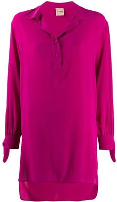 Nude silk tie-cuff blouse