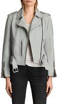 AllSaints Leather Balfern Biker Jacket, Skye Blue