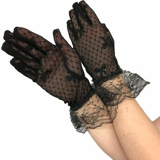 Yummy Bee - Black Lace Gloves Women - Frilly Gothic Evening Gloves Ladies