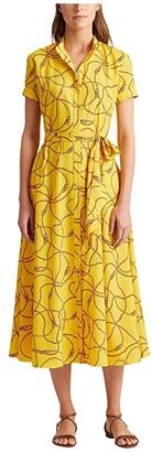 Lauren Ralph Lauren Print Crepe Dress (Dandelion Fields/Multi) Women's Clothing