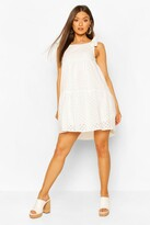 boohoo Tie Shoulder Broderie Anglaise Smock Dress