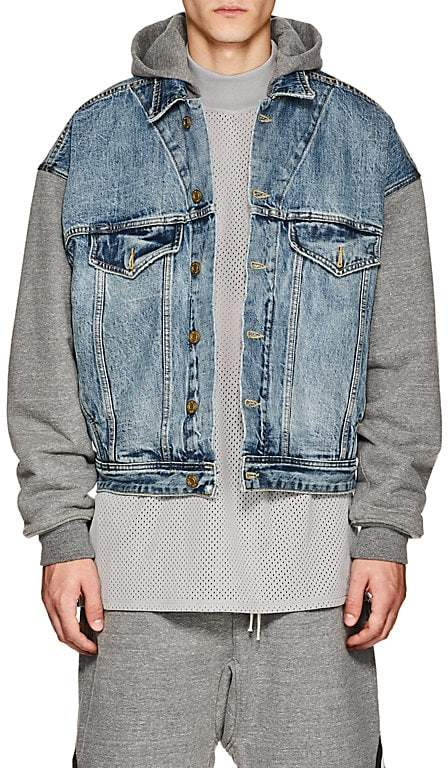 Fear Of God Men's Selvedge Denim & French Terry Hooded Trucker Jacket