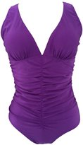 LE BESI Women's One Piece Light Fabric Ruched Elegant Inspired Tank Swimsuit Size US