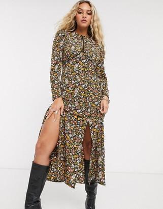 Topshop midi dress with leg split in multi