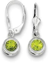 Goldia Sterling Silver 6mm Round Natural Peridot Leverback Earrings