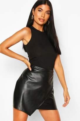 boohoo Petite PU Wrap Mini Skirt