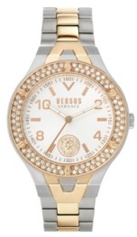 Versus By Versace Women's Vittoria Silver and Rose Gold Tone Stainless Steel Bracelet Watch 38mm