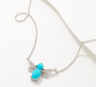 Sterling Silver Gemstone Cabochon Butterfly Necklace