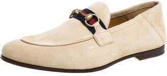 Gucci Cream Suede Web Horsebit Slip On Loafers Size 38.5