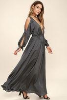 LuLu*s Owning It Charcoal Grey Satin Maxi Dress
