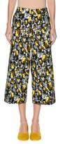 Marni Rose-Print Wide-Leg Ankle Cotton Woven Pants