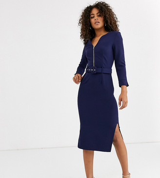Paper Dolls Tall belted midi dress with side splits in navy