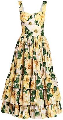 Dolce & Gabbana Floral Poplin Bustier Tiered Midi Dress