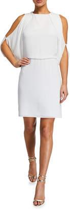 Halston Cold-Shoulder Tie Open Back Dress