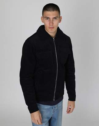 The Idle Man - Zip Cord Jacket with Borg Collar Navy