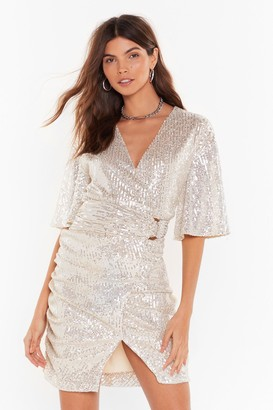 Nasty Gal Womens Glitters Like a Glitterball Sequin Mini Dress - Beige - 6, Beige