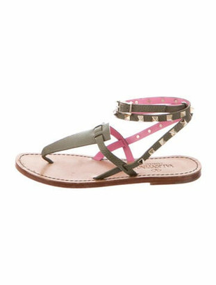 Valentino Rockstud Accents Leather Gladiator Sandals Green