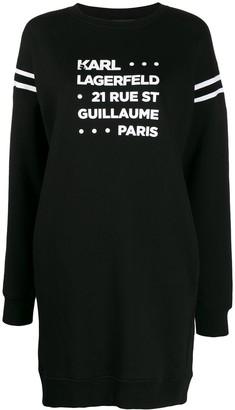 Karl Lagerfeld Paris Stacked Logo Address Print Sweatshirt Dress