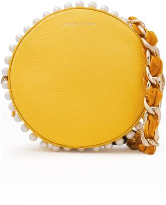 Mother of Pearl Rena Small Faux Pearl-embellished Pebbled-leather Shoulder Bag