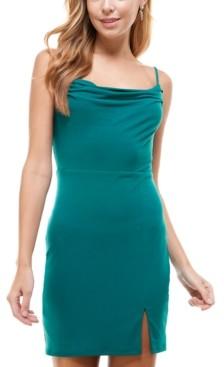 City Studios Juniors' Lace-Trim Bodycon Dress