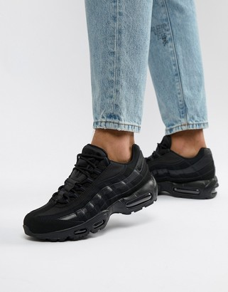 Nike 95 leather trainers in black