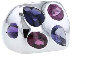 Chanel Pre Owned 2000s Pre-Owned Coloured Stones Square Ring