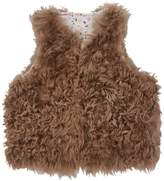 Marie Chantal Girls Chocolate Shearling Gillet