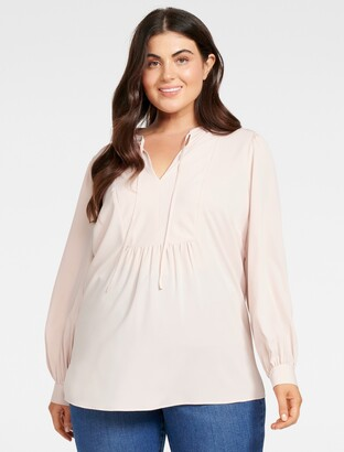 Forever New Sonia Curve Neck-Tie Blouse - Nude Shimmer - 20