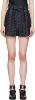 3.1 Phillip Lim Navy Tailored Pleated Chevron Shorts