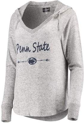 Unbranded Women's Heathered Gray Penn State Nittany Lions Cuddle Soft V-Neck Tri-Blend Hoodie
