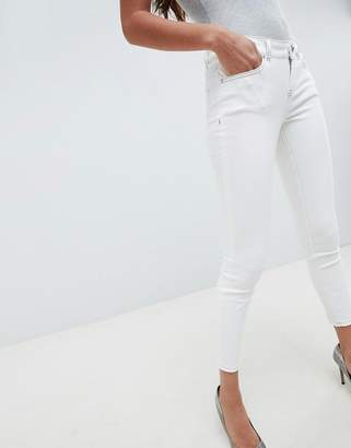 Asos Design DESIGN Whitby low rise jeans in off white with contrast stitching