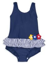 Florence Eiseman Toddler's & Little Girl's Swim Floral Applique One-Piece Swimsuit