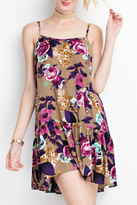 Easel Floral Tan Dress