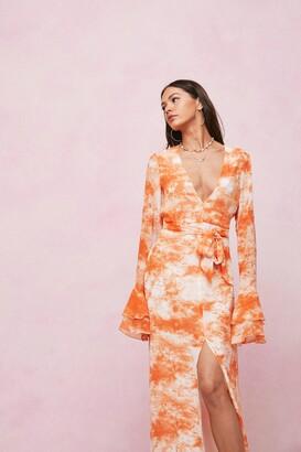 Nasty Gal Womens Chiffon Tie Dye Print Belted Maxi Dress - Orange - 4