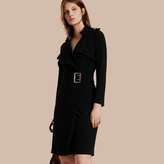 Burberry Buckle Detail Satin-back Crepe Trench Dress