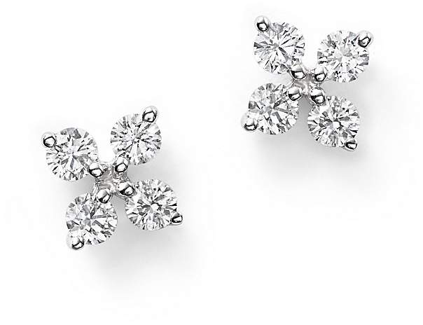Bloomingdale's Diamond Small Clover Studs in 14K White Gold, .35 ct. t.w.